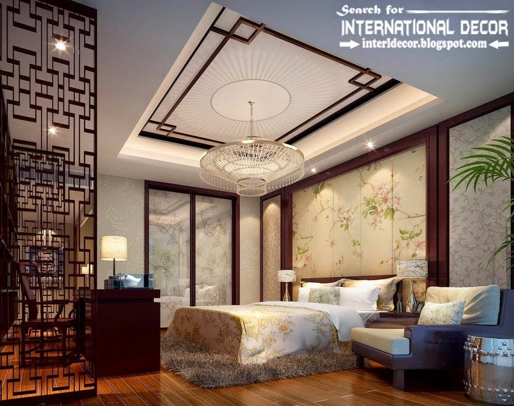 Luxury bedroom gypsum ceiling design with crystal chandelier for Bedroom gypsum ceiling designs photos