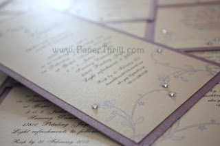 Purple floral swirls handmade wedding invitation card