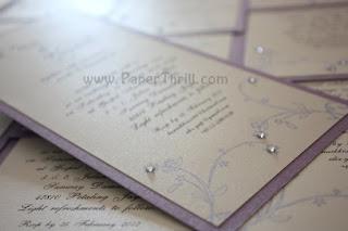 Purple floral swirls handmade wedding invitation card