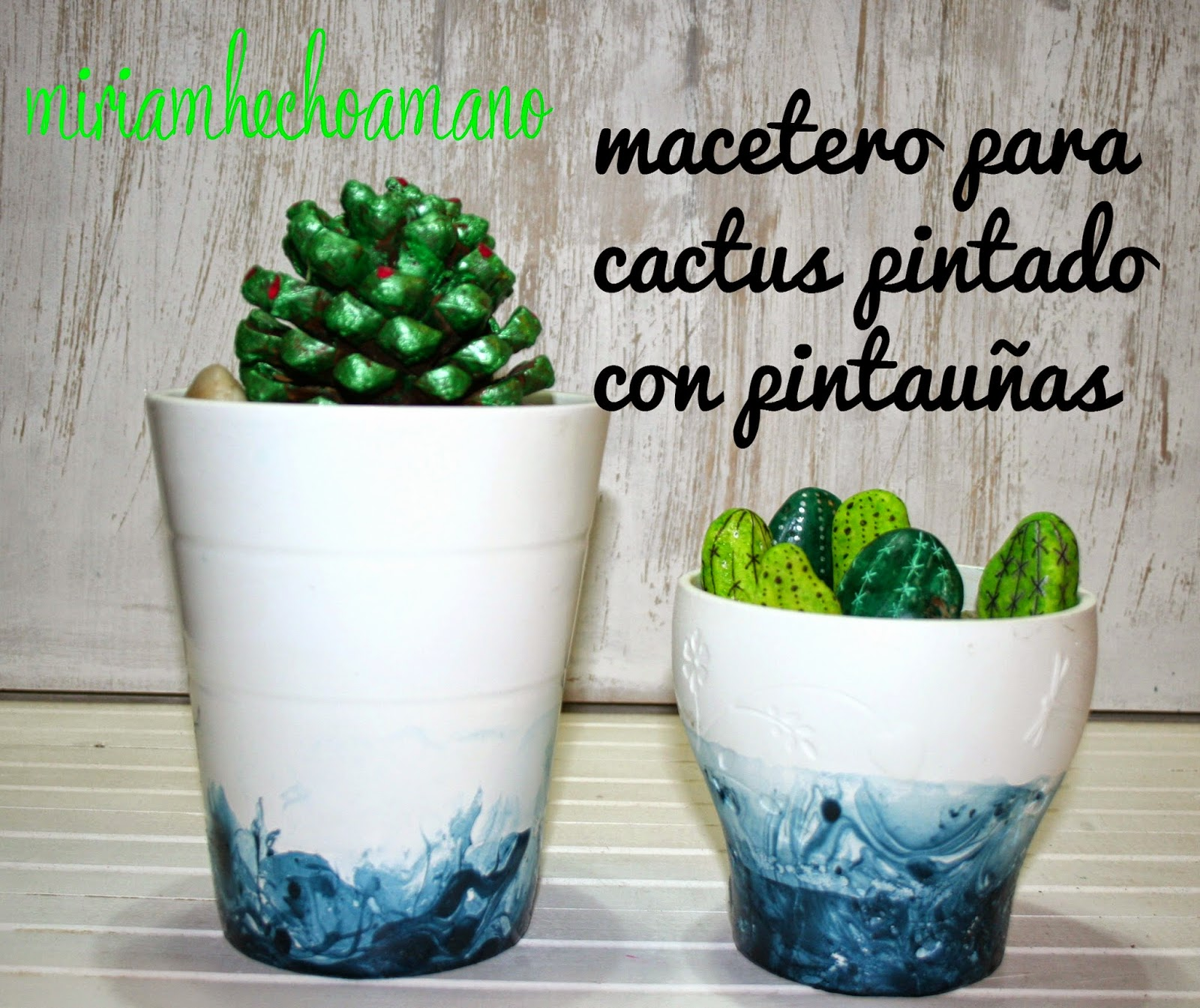 maceta decorada pintauñas