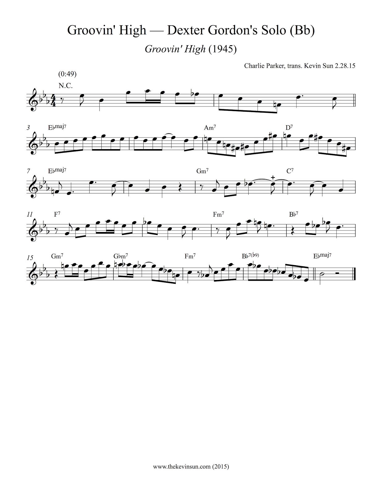 "Dexter Gordon Jazz Saxophone Bebop Solo Transcription - ""Groovin' High"""
