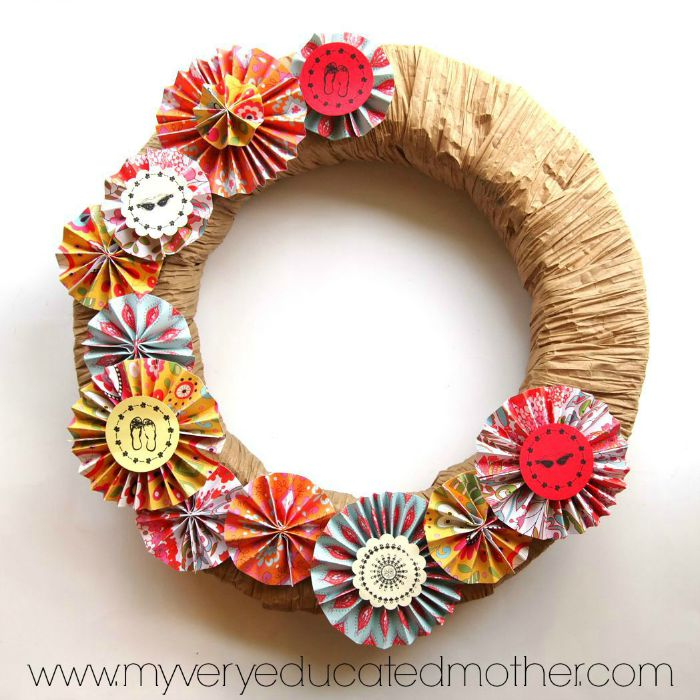 PSA Essentials Stamps liven up this paper medallion Summer Fun Wreath.