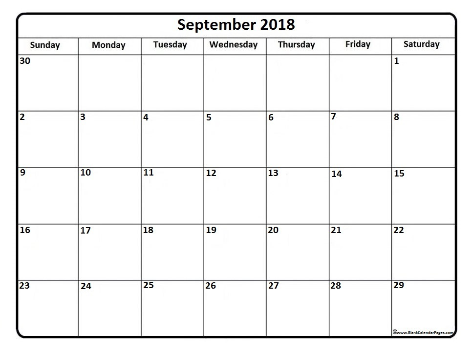 September 2018 Monthly Calendar Printable Templates Printable
