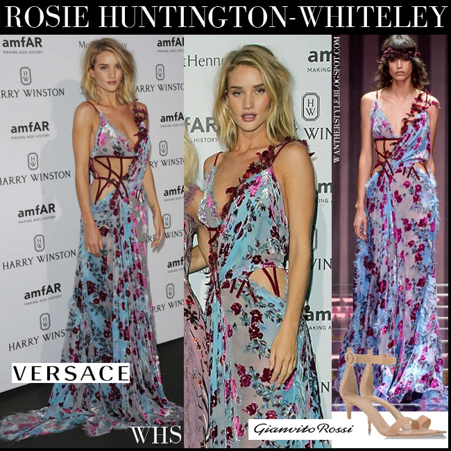 Rosie Huntington-Whiteley in blue and pink floral maxi gown Atelier Versace amfar dinner what she wore july 5