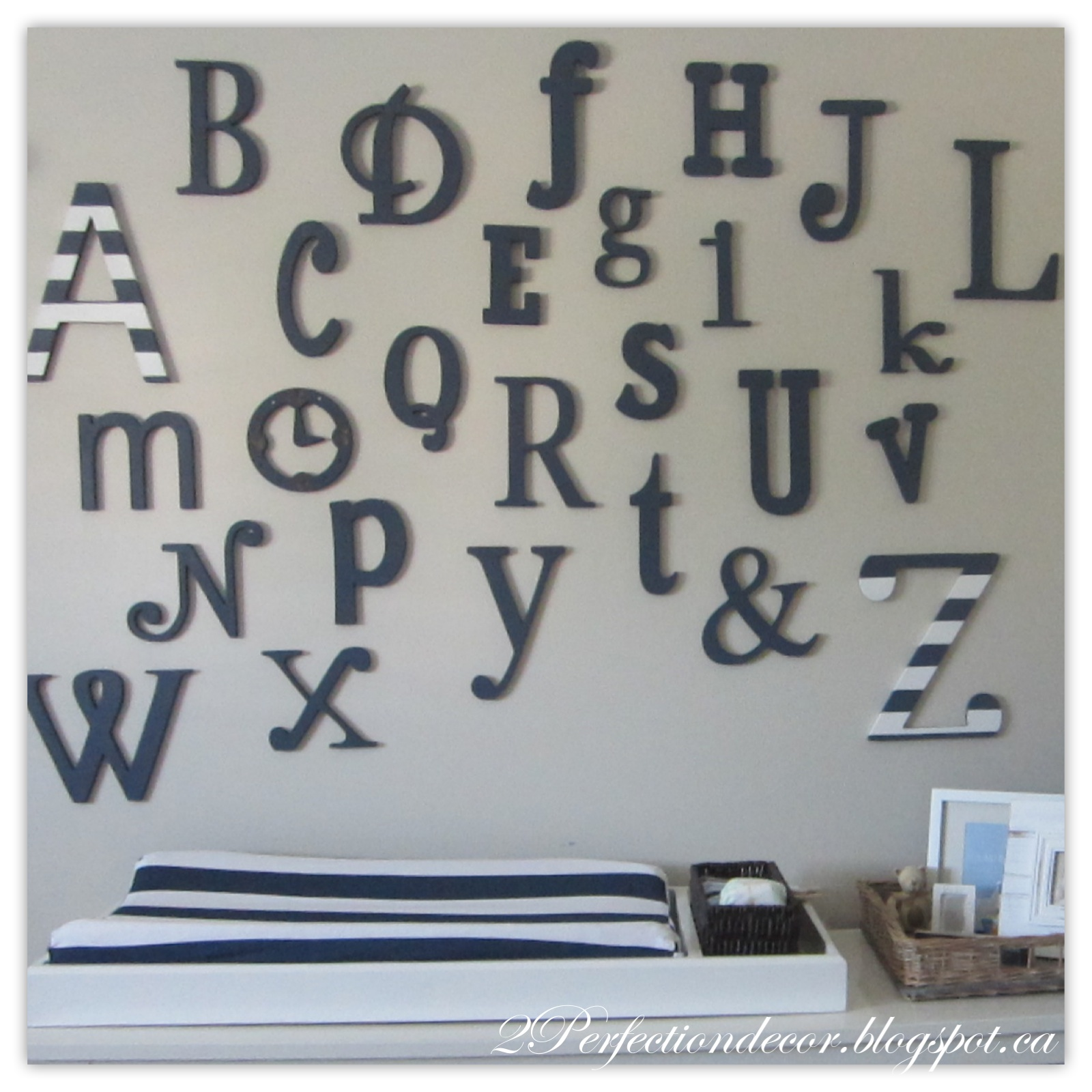 2perfection decor wooden alphabet nursery wall for Alphabet wall decoration