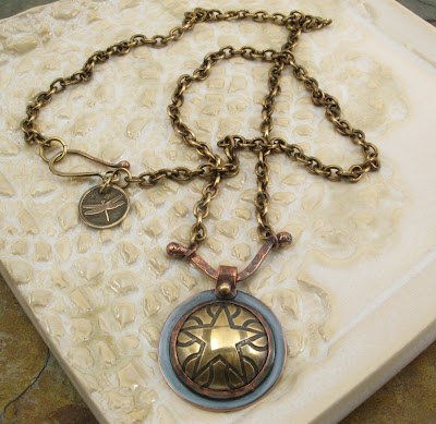 Libellula Jewelry:  Etched Brass Star Necklace
