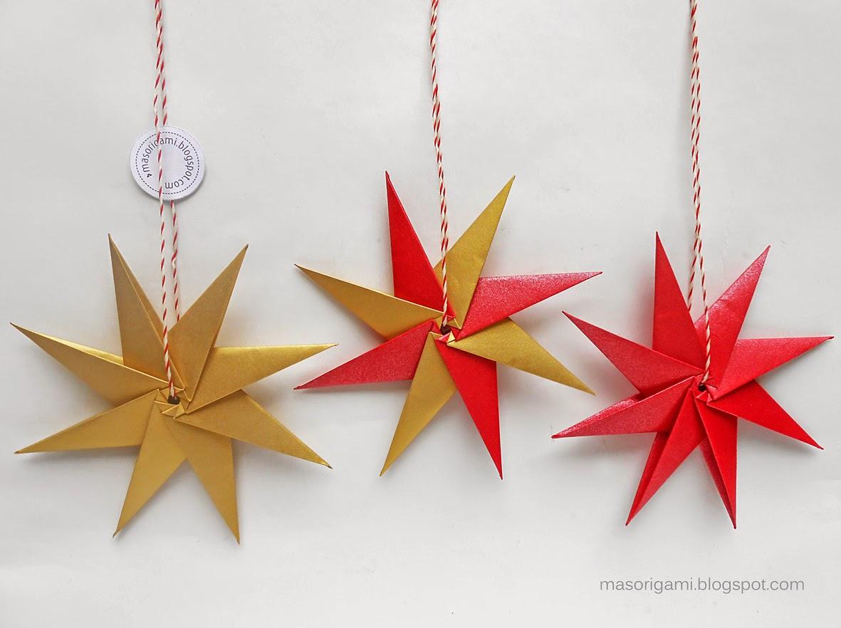 Mas origami estrellas modulares de 8 puntas - Origami de una estrella ...