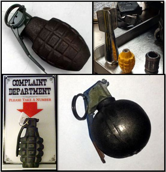 Clockwise from top left, inert grenades discovered at DEN, RSW, SAT, and RIC