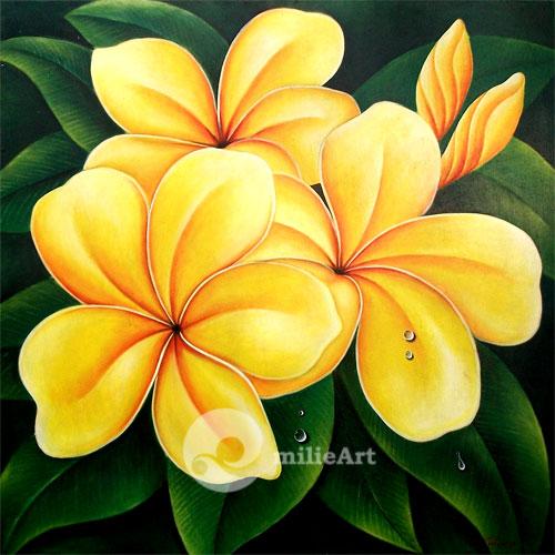 lukisan bunga kamboja