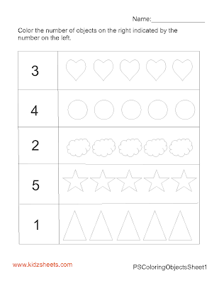 Preschool Coloring Objects, Counting Worksheets, Coloring Worksheets, Math Worksheets, Kids Worksheets