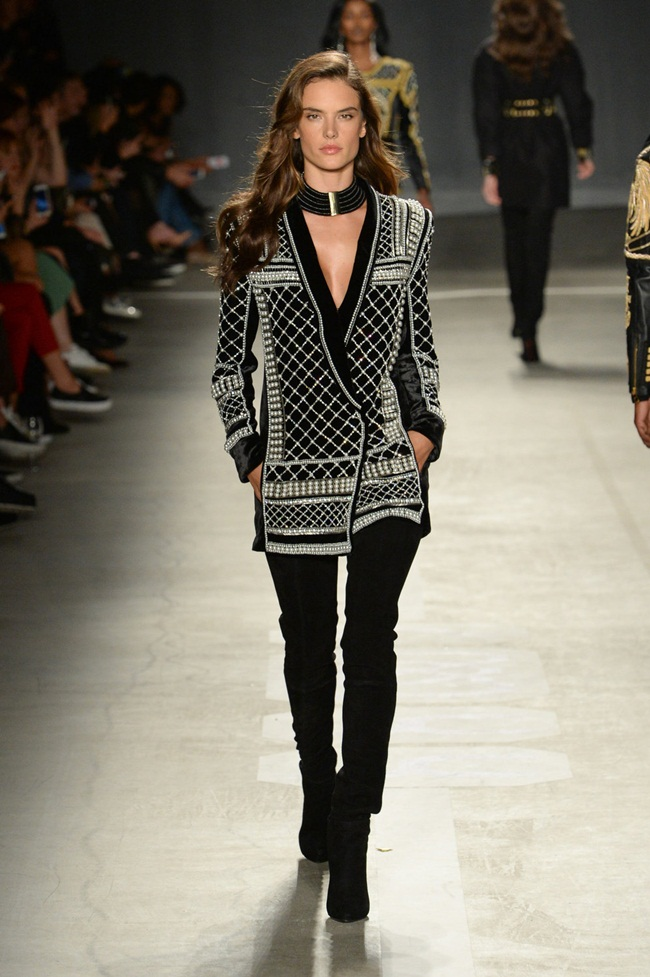 Balmain x H&M 2015 Fall Beaded Velvet Jacket on Runway