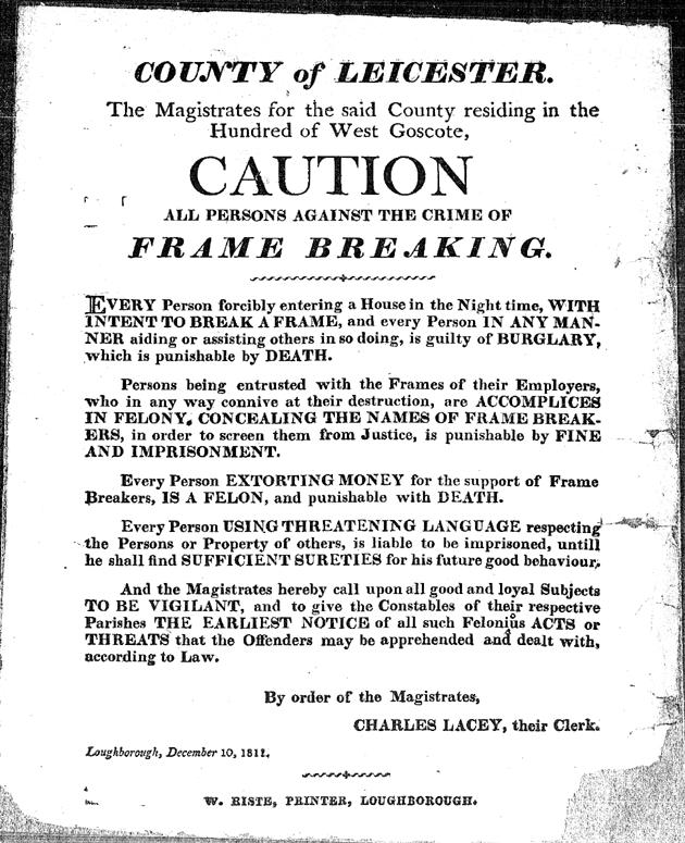 Luddite Bicentenary: 10th December 1811: Loughborough warning to ...