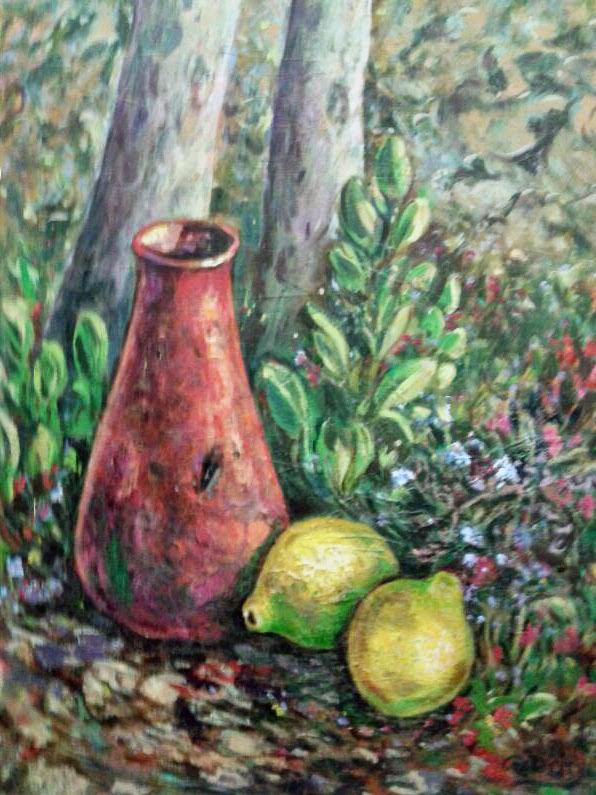 cuadro óleo jarrón rojo limones bodegón, sobre campo o prado vegetal