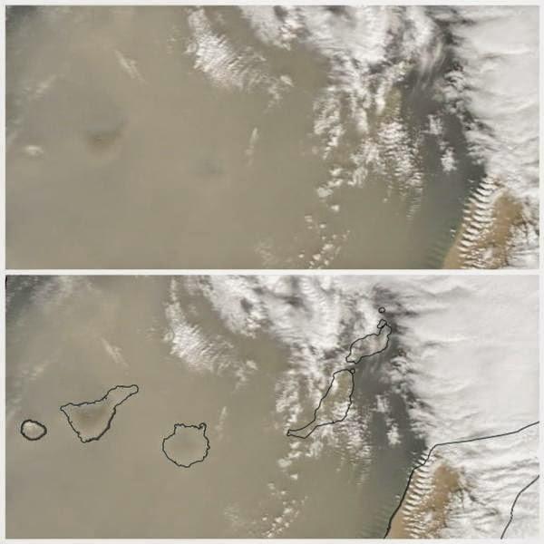 Canarias con calima vista desde satélite, enero 2015