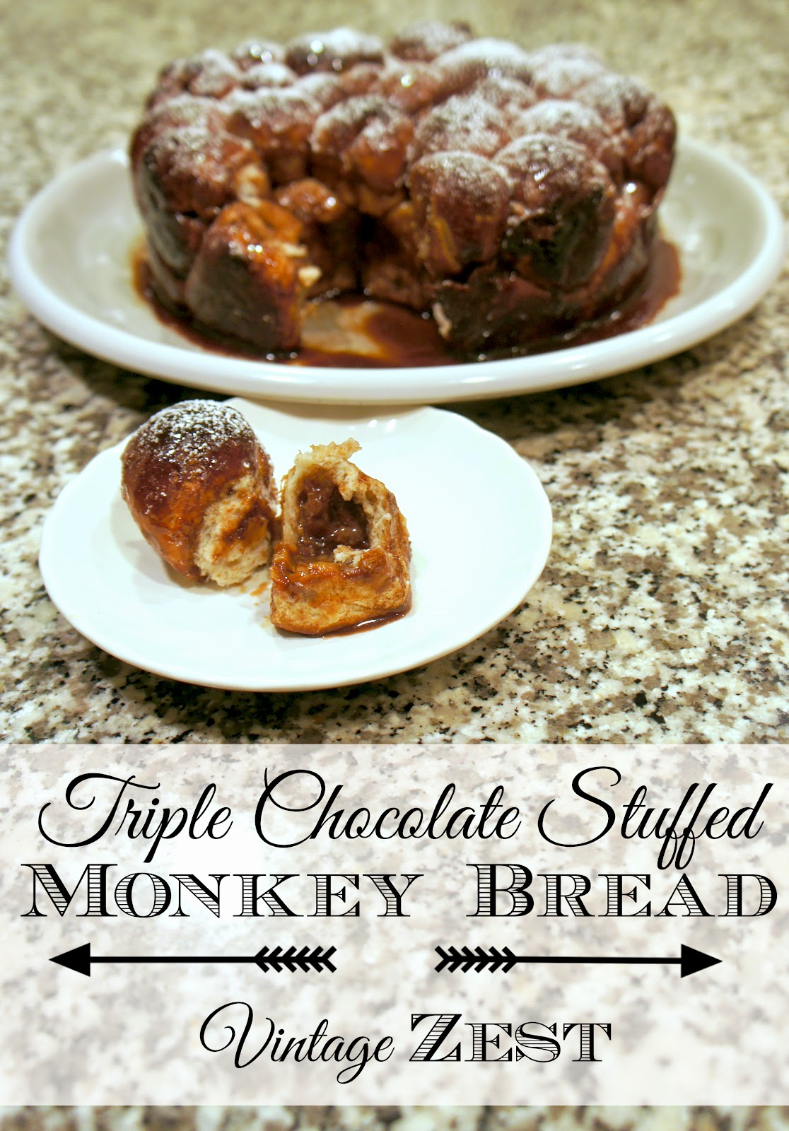 Triple Chocolate Stuffed Monkey Bread on Diane's Vintage Zest!