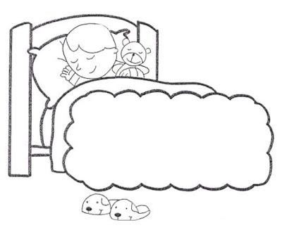 Colorear niño durmiendo, acostado.
