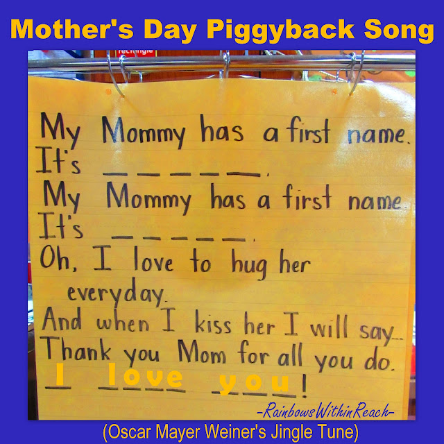 Anchor Chart for Mother's Day, Mother's Day poem, kindergarten