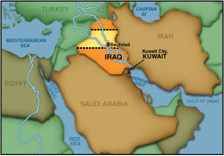 Kuwait Iraq Map