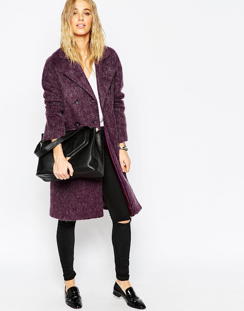 asos purple coat, purple wool coat,