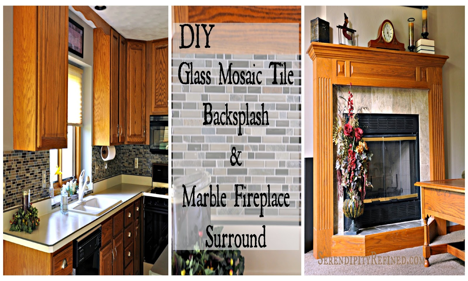 DIY Updates: Glass Mosaic Tile Kitchen Backsplash And Marble Tile Fireplace  Surround