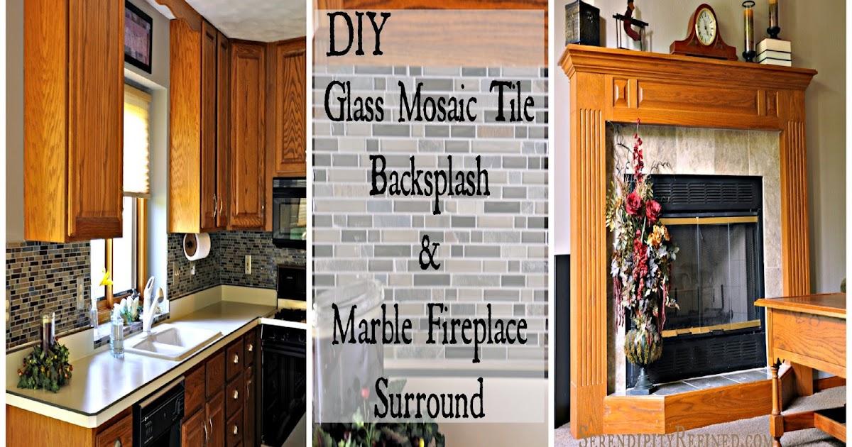 Stunning Serendipity Refined Blog DIY Updates Glass Mosaic Tile Kitchen Backsplash and Marble Tile Fireplace Surround