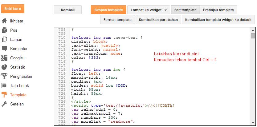 Cara Mencari Kode Pada Menu Edit HTML Blogger 2