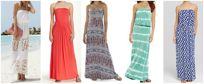 Romwe Strapless Floral Crochet Maxi Dress $19.00 (regular $36.74)  Mudd Fold Over Convertible Maxi Dress $19.99 (regular $40.00)  Loveapella Strapless Pocket Maxi Dress $39.97 (regular $90.00)  Elan Tie Dye Tube Maxi Dress $59.40 (regular $99.00)  Macbeth Collection Printed Strapless Maxi Dress $60.00 (regular $80.00)
