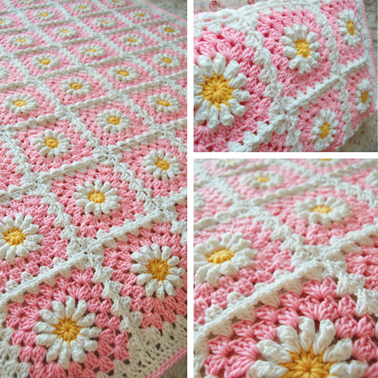 Pink (shasta) daisy blanket is finished!
