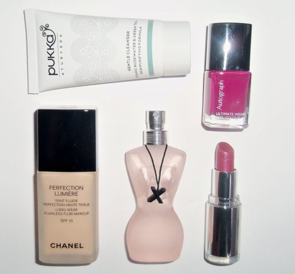 March beauty picks, Chanel perfection Lumiere, Pukka gentle Cleanser, M&S nail colour, Clarins Sweet Plum, Jean Paul Gaultier Classique X