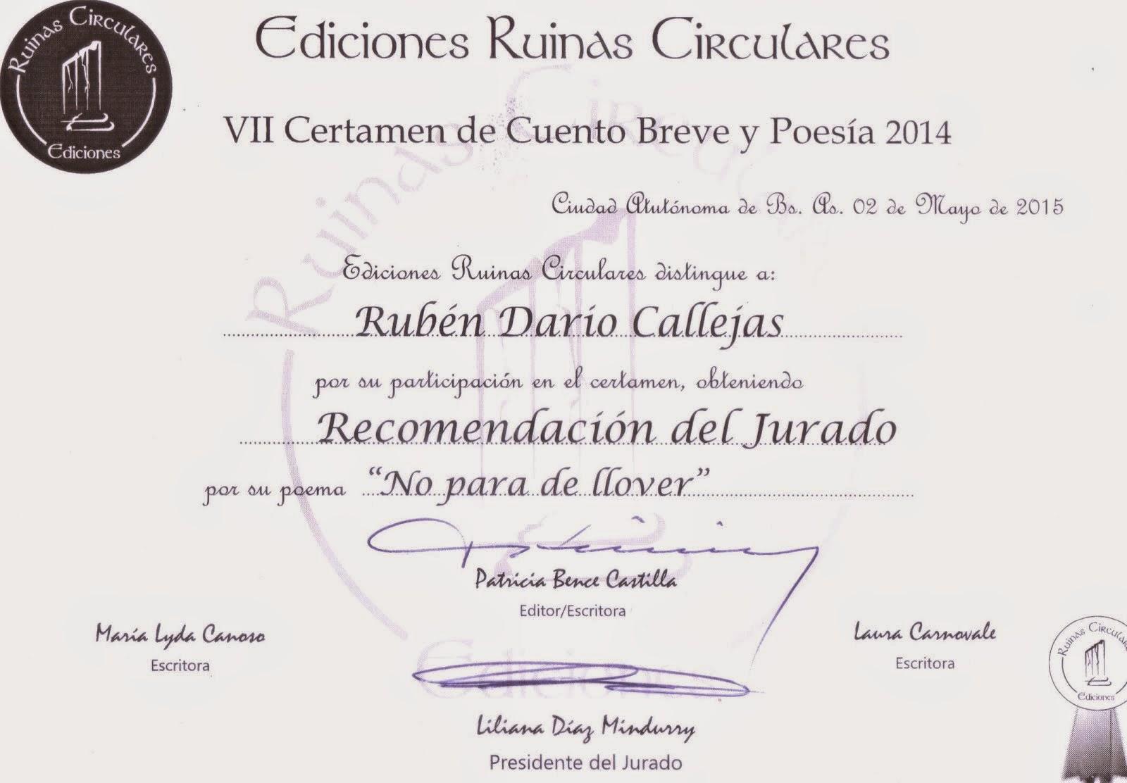 """Recomendación del jurado por """"No para de llover"""" en el VII Certamen de cuento breve y poesía 2014"""
