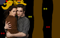 Twilight stars Kristen Stewart and Robert Pattinson wearing miniature Jabba the Hutts on their heads