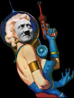 Hitler with boobs, and a ray gun.