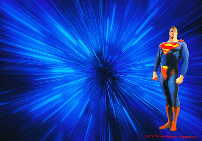 Desktop Wallpaper of Superman Standing Tall in Blue Vortex