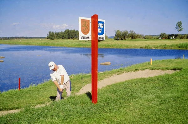 Play golf on the border of Sweden and Finland, where half the holes are in one country and half in the other