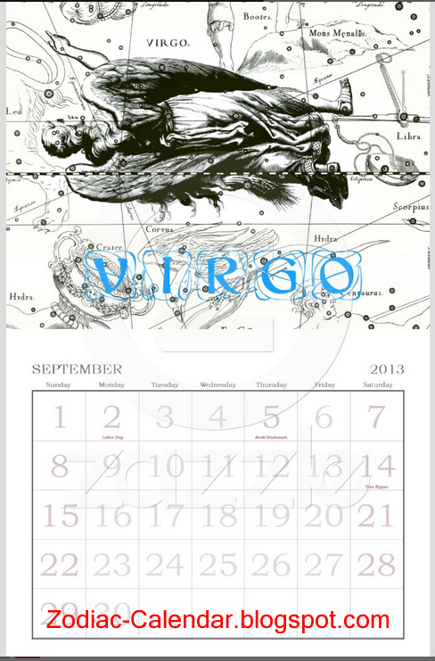 Virgo Calendar May : Zodiac calendar