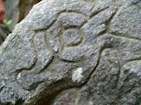 Detall del petit carro del sol a la part inferior de la cara nord de la Pedra Gravada del Montpedrós