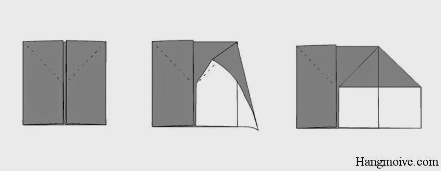 Bước 5: Từ cạnh phải của hình vuông ta mở tờ giấy ra bên ngoài ta được như hình dưới.