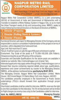 Applications are invited for various Director Vacancies  in Nagpur Metro Rail Corporation Ltd
