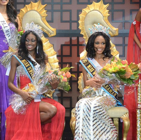 Celeste Marshall and De'andra Bannister sits on their throne after winning the Miss Bahamas 2012 - 2013 Pageant