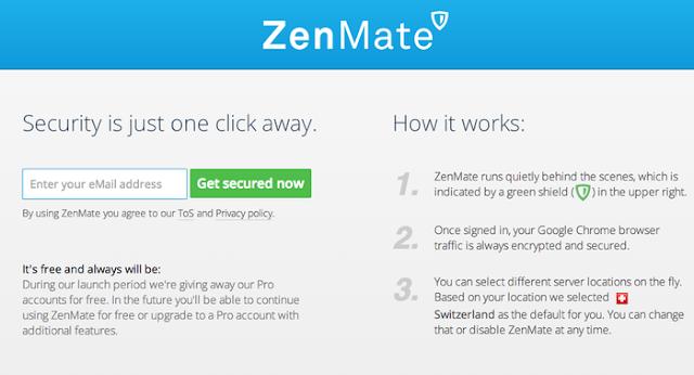 إضافة خدمة ZenMate VPN المجانية على متصفح غوغل كروم