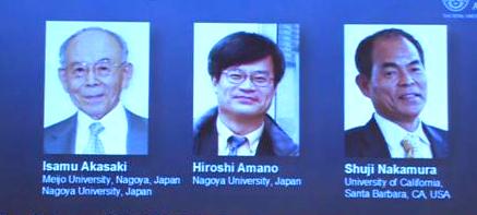 Nobel Prize in Physics 2014 details available here...Isamu Akasaki, Hiroshi Amano, Shuji Nakamura