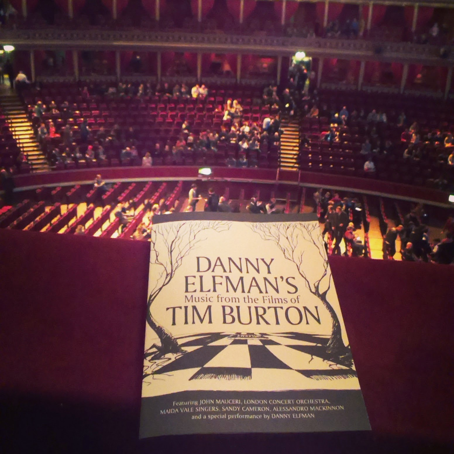 Royal Albert Hall programme and view from box 74