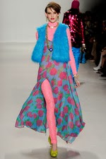 blue, faux fur, vest, floral dress, new york fashion week,