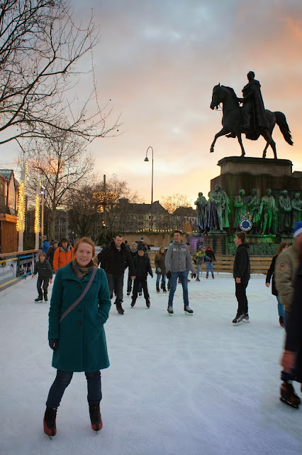 Ice-skating as the sun sets -  Alter Markt Christmas Market, Cologne