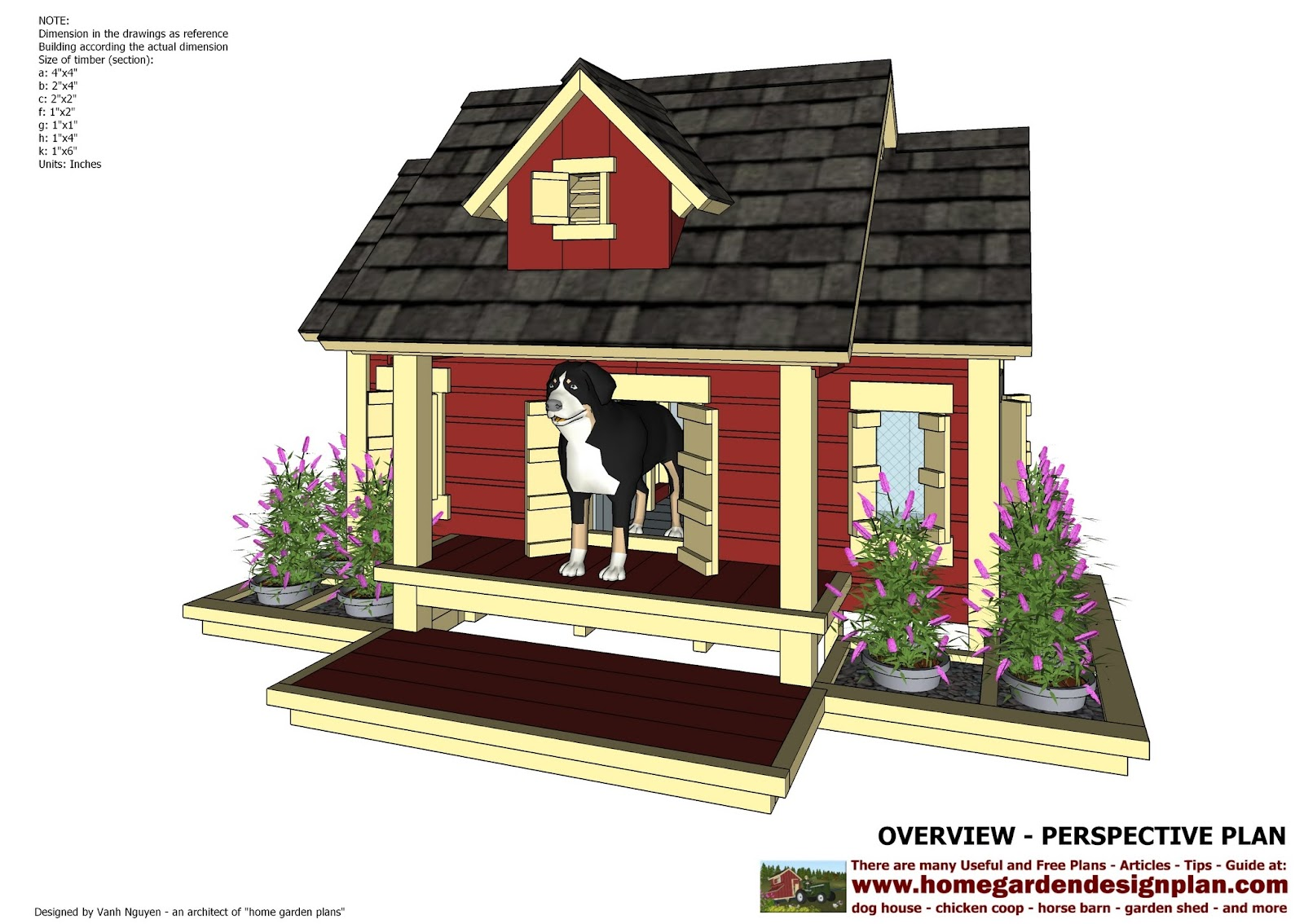 Home garden plans dh301 insulated dog house plans for Dog kennel floor plans