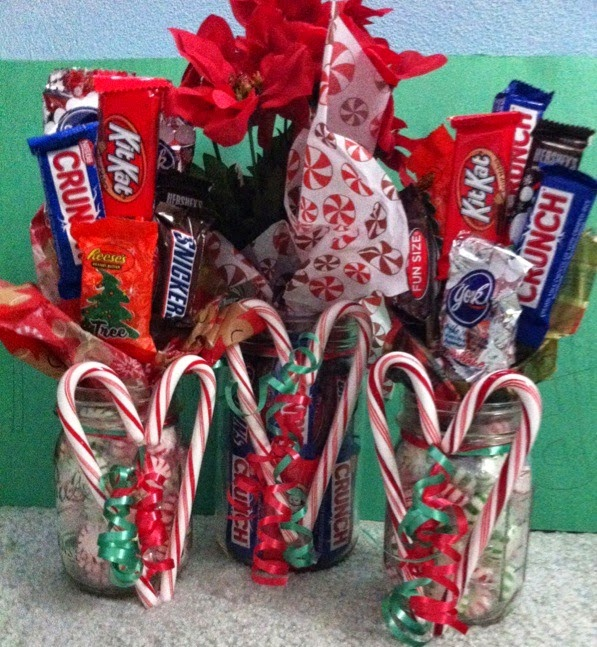 Candy bar bouquet in a mason jar for Edible christmas gift ideas to make