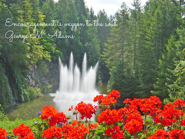 Ross Fountain and geraniums, Butchart Gardens, B. C. (British Columbia)
