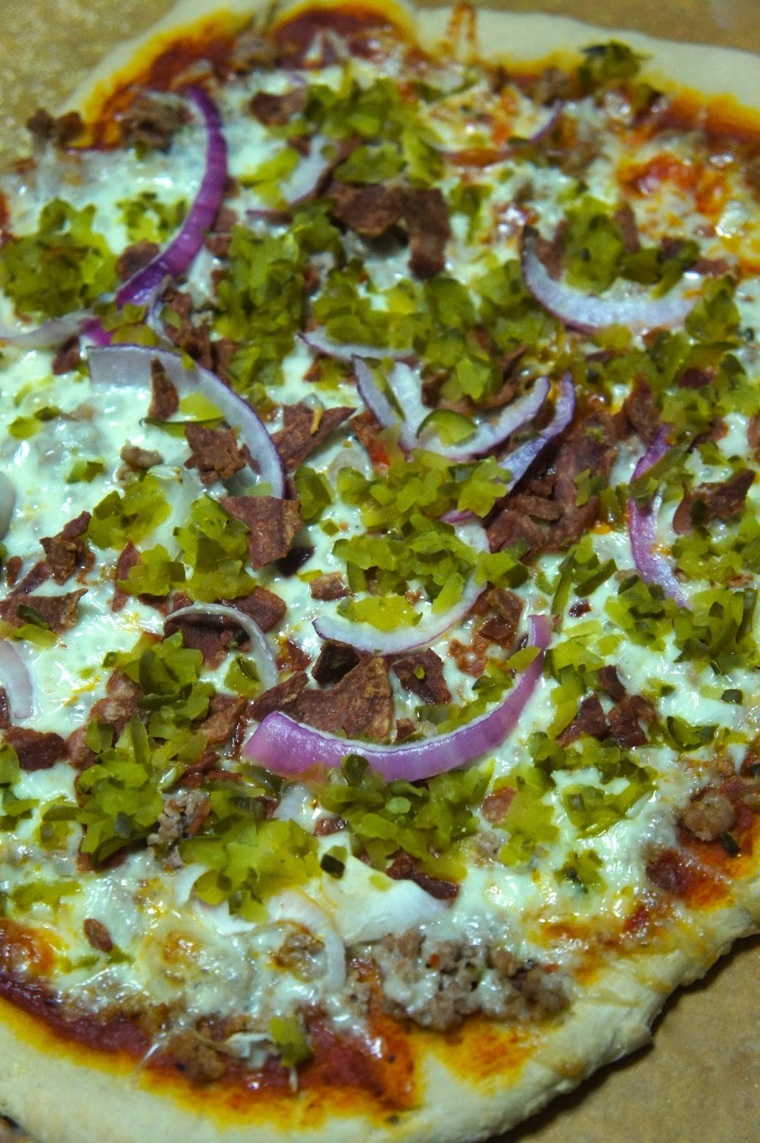 Thin Crust Bacon Cheeseburger Pizza: Savory Sweet and Satisfying