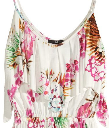 White maxi dress with colorful tropical pattern, from H&M