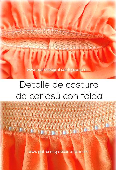 como coser canesú crochet al vestido